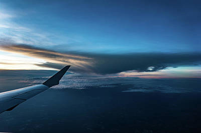 Photograph - Sunset View From Airplane Window by Alex Grichenko