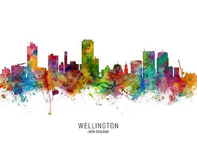 Digital Art - Wellington New Zealand Skyline by Michael Tompsett