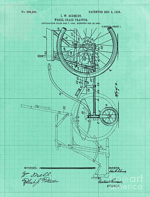 Royalty-Free and Rights-Managed Images - Wheel Chair Tractor Vintage Art Print Year 1905 Blueprint by Drawspots Illustrations