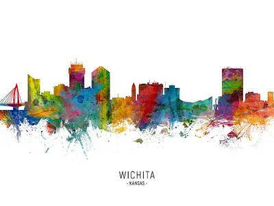 Digital Art - Wichita Kansas Skyline by Michael Tompsett