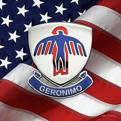Digital Art - 501st Airborne Infantry Regiment - 501st   A I R  Unit Insignia Over Flag by Serge Averbukh