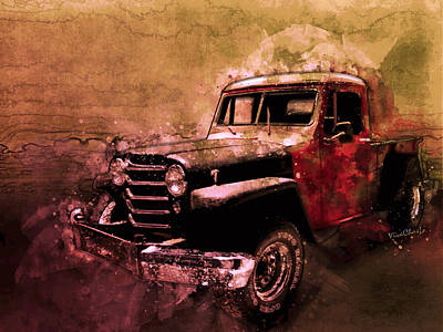 Digital Art - 51 Willys Jeep 4x4 Pickup Ridge Running Before Dark by Chas Sinklier