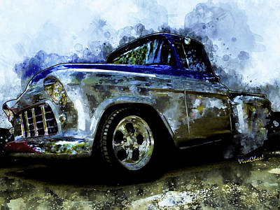 Digital Art - 56 Chevro Pickup Dreaming Of Chrome by Chas Sinklier