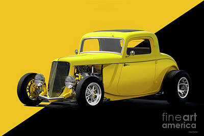 Fashion Paintings - 1933 Ford Three-Window Coupe by Dave Koontz