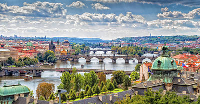 Word Signs - Bridge and rooftops of Prague by Vivida Photo PC
