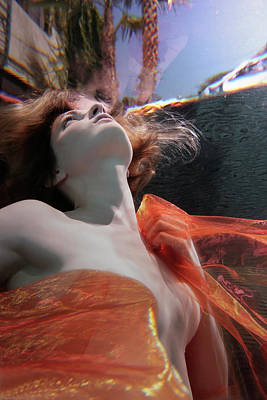 Trapped Photograph - Caucasian Woman In Dress Swimming Under by Ming H2 Wu