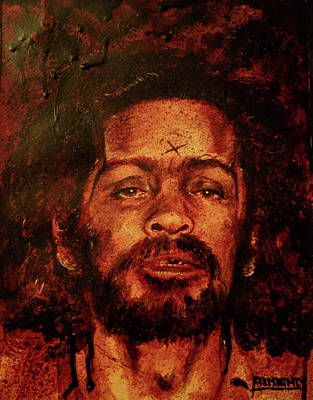 Painting - CHARLES MANSON portrait fresh blood by Ryan Almighty