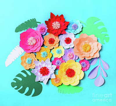 Royalty-Free and Rights-Managed Images - Colorful handmade paper flowers background by Michal Bednarek