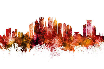 Digital Art - Doha Qatar Skyline by Michael Tompsett