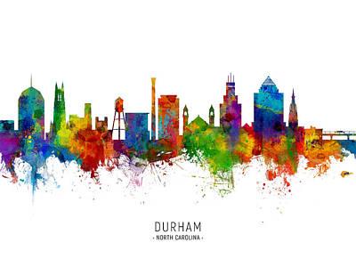 Digital Art - Durham North Carolina Skyline by Michael Tompsett