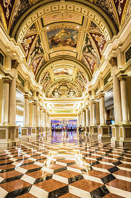 Photograph - Fancy Luxurious Lobby Balcony At Venetian Las Vegas by Alex Grichenko