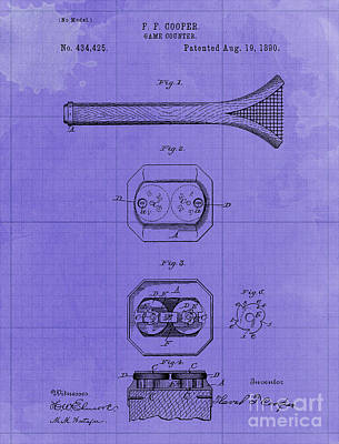 Royalty-Free and Rights-Managed Images - Game Counter Antique Patent Year 1890 Original Artwork Home Decoration by Drawspots Illustrations