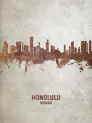 Digital Art - Honolulu Hawaii Skyline by Michael Tompsett