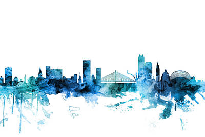 Digital Art - Liege Belgium Skyline by Michael Tompsett