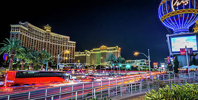 Photograph - Nightime On Vegas Strip In Las Vegas Nevada by Alex Grichenko