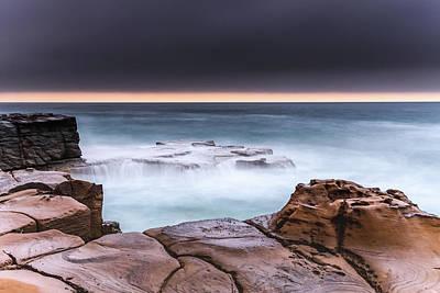 Photograph - Overcast Coastal Seascape From Sandstone Headland by Merrillie Redden