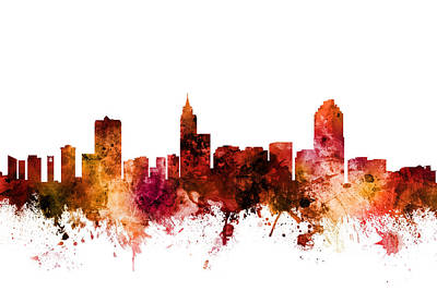 Digital Art - Raleigh North Carolina Skyline by Michael Tompsett