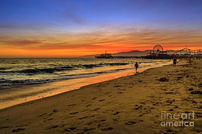 Photograph - Santa Monica Pier Sunset by Benny Marty