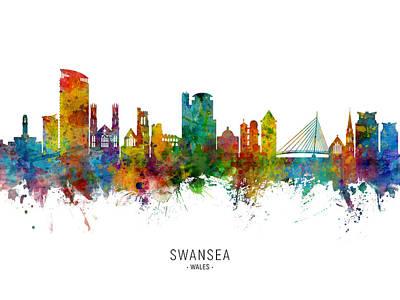 Digital Art - Swansea Wales Skyline by Michael Tompsett