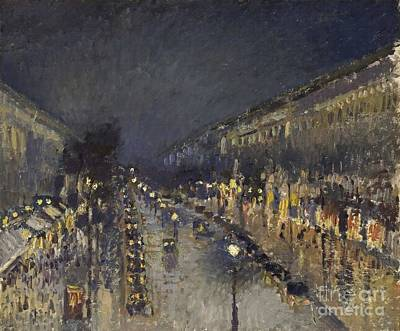 The Boulevard Montmartre At Night Art Print