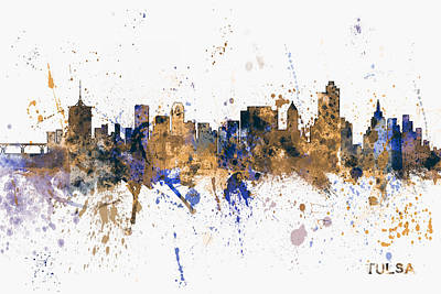 Digital Art - Tulsa Oklahoma Skyline by Michael Tompsett