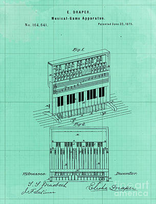 Royalty-Free and Rights-Managed Images - Vintage Musical Game Apparatus Patent Year 1875 by Drawspots Illustrations