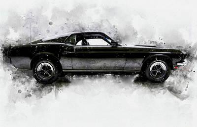 Mixed Media - 69 Mustang by David Ridley