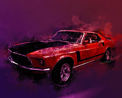 Digital Art - 69 Mustang Mach 1 Watercolor Illustration By Vivachas by Chas Sinklier