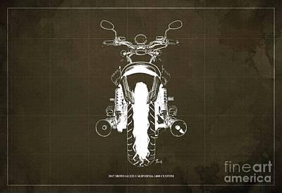 Holiday Pillows 2019 -  2017 Moto Guzzi California 1400 Custom Blueprint by Drawspots Illustrations