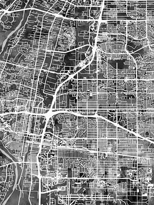 Digital Art - Albuquerque New Mexico City Street Map by Michael Tompsett