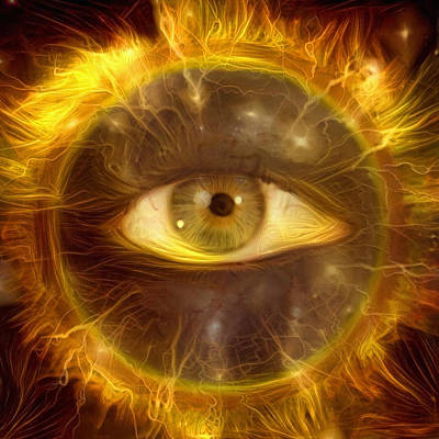 Surrealism Digital Art Rights Managed Images - All seeing Eye Royalty-Free Image by Bruce Rolff