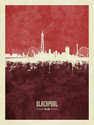Digital Art - Blackpool England Skyline by Michael Tompsett