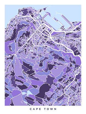Digital Art - Cape Town South Africa City Street Map by Michael Tompsett