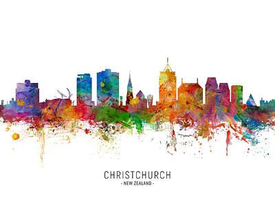 Digital Art - Christchurch New Zealand Skyline by Michael Tompsett