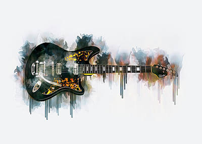 Drawing - Electric Guitar by Ian Mitchell