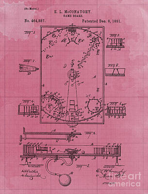 Royalty-Free and Rights-Managed Images - Game Board Vintage Patent Year 1891 Vintage Artwork Pub Decoration by Drawspots Illustrations