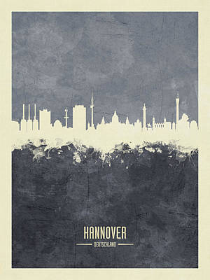Digital Art - Hannover Germany Skyline by Michael Tompsett
