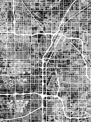 Digital Art - Las Vegas City Street Map by Michael Tompsett