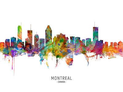 Digital Art - Montreal Canada Skyline by Michael Tompsett