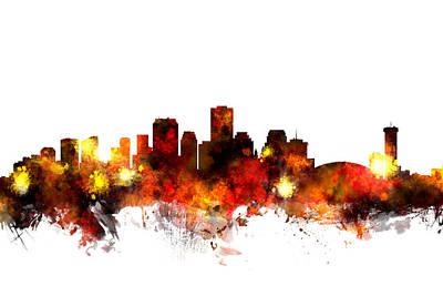Digital Art - New Orleans Louisiana Skyline by Michael Tompsett