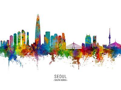 Digital Art - Seoul Skyline South Korea by Michael Tompsett