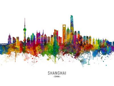 Digital Art - Shanghai China Skyline by Michael Tompsett