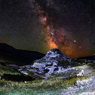 Photograph - Soda Butte Spewing Out Milky Way Galaxy Like Volcano In Yellowst by Alex Grichenko
