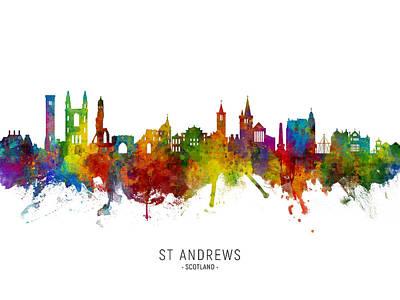 Digital Art - St Andrews Scotland Skyline by Michael Tompsett