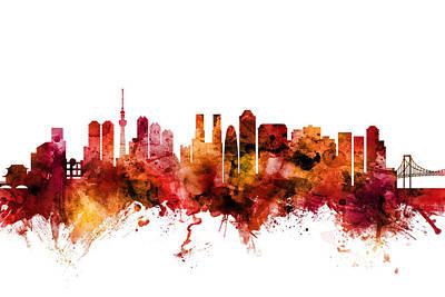 Digital Art - Tokyo Japan Skyline by Michael Tompsett