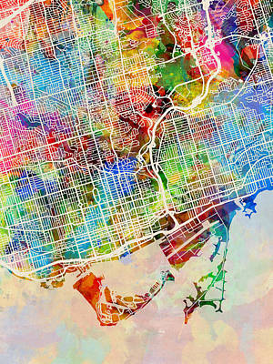 Digital Art - Toronto Street Map by Michael Tompsett