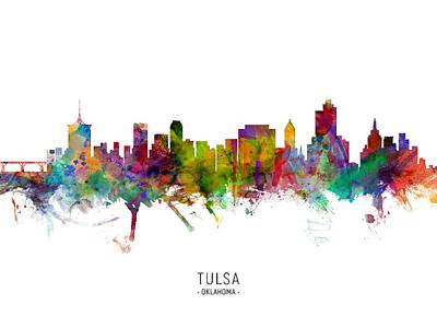 Digital Art - Tulsa Oklahoma Skyline by Michael Tompsett