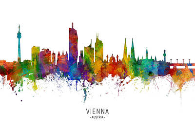 Digital Art - Vienna Austria Skyline by Michael Tompsett