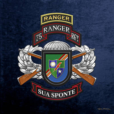 Digital Art - 75th Ranger Regiment - Army Rangers Special Edition Over Blue Velvet by Serge Averbukh