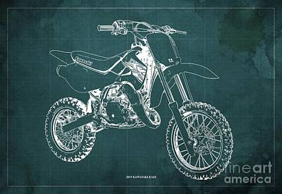 Modern Sophistication Beaches And Waves Royalty Free Images - 2019 Kawasaki KX65 Blueprint Original Artwork Gift for bikers Office Decoration Royalty-Free Image by Drawspots Illustrations